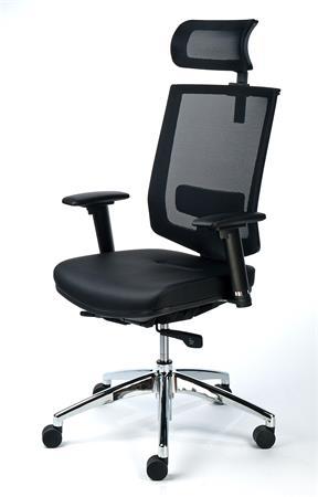 MaYAH Maxy exkluzív fejtámaszos irodai forgószék | fekete bőrborítás | feszített hálós háttámla | alumínium lábkereszt