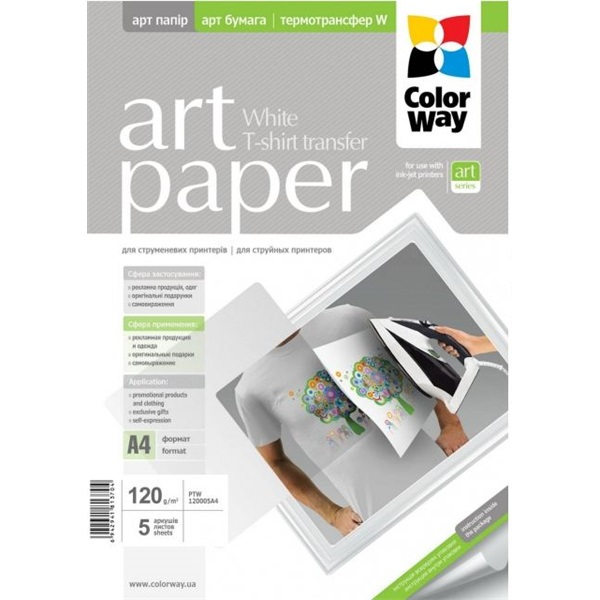COLORWAY Fotópapír, pólóra vasalható (ART T-shirt transfer, white), 120 g/m2, A4, 5 lap