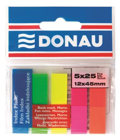 Jelölőcímke, műanyag, 5x25 lap, 12x45 mm, DONAU, neon szín