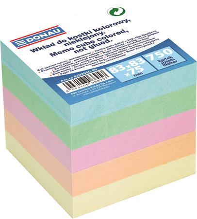 Kockatömb, utántöltő, 83x83x75 mm, DONAU, színes