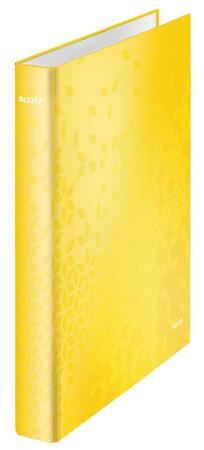 Gyűrűs könyv, 2 gyűrű, D alakú, 40 mm, A4 Maxi, karton, lakkfényű, LEITZ Wow, sárga