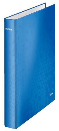 Gyűrűs könyv, 4 gyűrű, D alakú, 40 mm, A4 Maxi, karton, LEITZ Wow, kék
