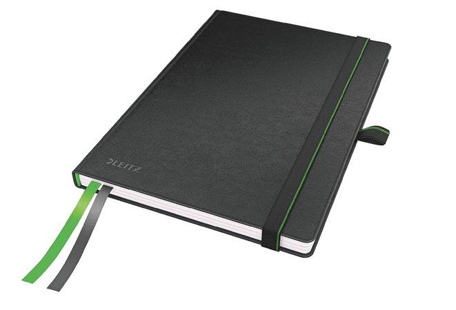 Jegyzetfüzet, exkluzív, A5, kockás, 80 lap, keményfedeles, LEITZ Complete, fekete