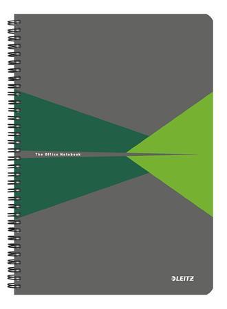Spirálfüzet, A4, kockás, 90 lap, PP borító, LEITZ Office, szürke-zöld