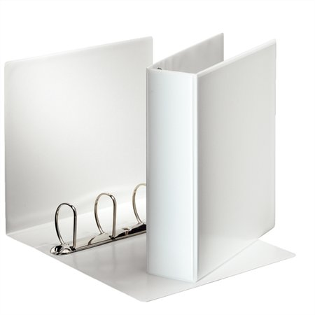 Gyűrűs könyv, panorámás, 4 gyűrű, D alakú, 86 mm, A4, PP, ESSELTE, fehér