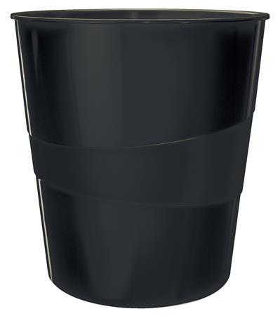 Papírkosár, 15 liter, LEITZ Wow, fekete