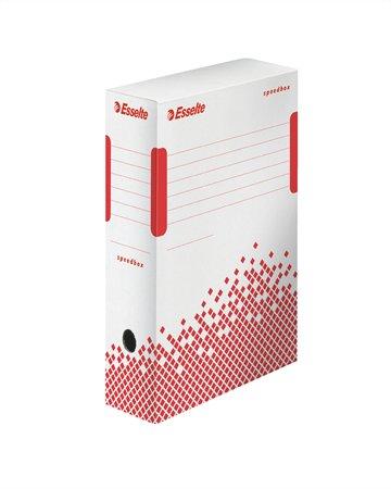 Archiválódoboz, A4, 100 mm, újrahasznosított karton, ESSELTE Speedbox, fehér