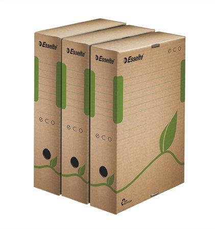Archiválódoboz, A4, 80 mm, újrahasznosított karton, ESSELTE Eco, barna