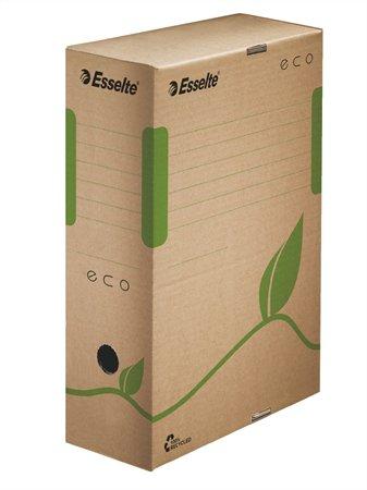 Archiválódoboz, A4, 100 mm, újrahasznosított karton, ESSELTE Eco, barna