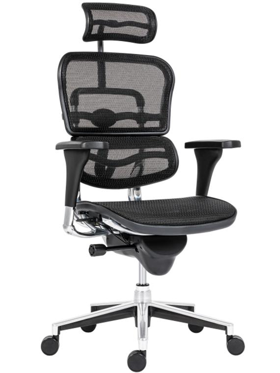 Ergohuman főnöki forgószék | hálós háttámla és ülőlap | fejtámla | alumínium lábkereszt | fekete