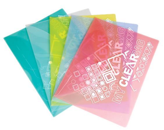 Irattartó tasak, A4, PP, patentos, 180 mikron, FLEXOFFICE FO-CBF05, vegyes színek