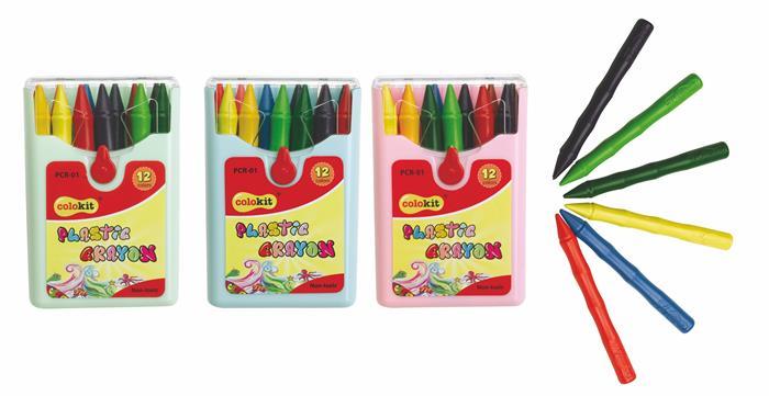 Zsírkréta, COLOKIT Plastic Crayon, 12 különböző szín