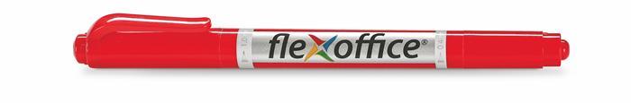 Alkoholos marker, 0,4/1,0 mm, kúpos, kétvégű, FLEXOFFICE PM01, piros