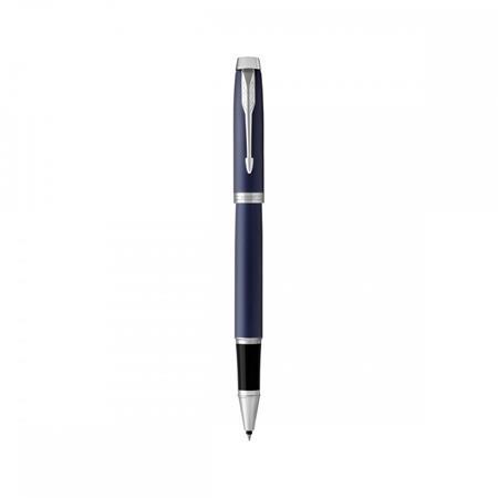 Rollertoll, 0,5 mm, ezüst színű klip, kék tolltest, PARKER IM Royal, fekete