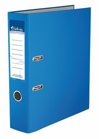 Iratrendező, 75 mm, A4, PP/karton, VICTORIA, Basic, kék