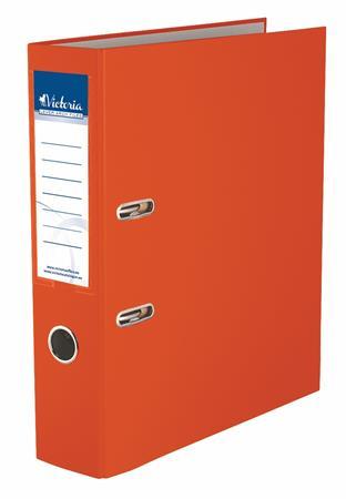 Iratrendező, 75 mm, A4, PP/karton, VICTORIA, Basic, narancs