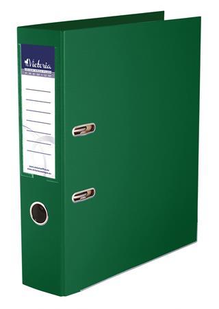 Iratrendező, 75 mm, A4, PP/PP, élvédő sínnel, VICTORIA, Premium, zöld