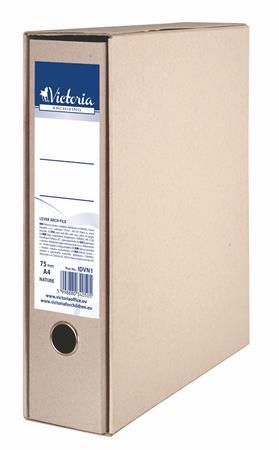 Tokos iratrendező, 75 mm, A4, karton, VICTORIA Natúr