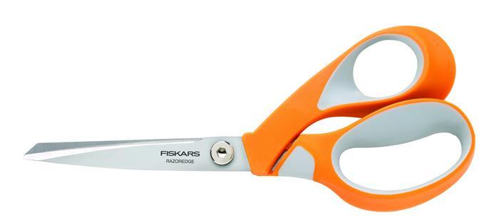 Olló, általános, 21 cm, FISKARS RazorEdge Softgrip, narancssárga