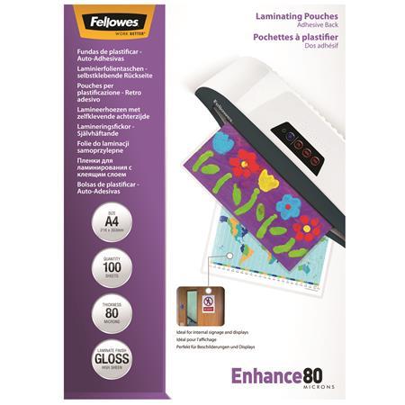 Fellowes A4 fényes öntapadó meleglamináló fólia | 80 mikron | 100 db