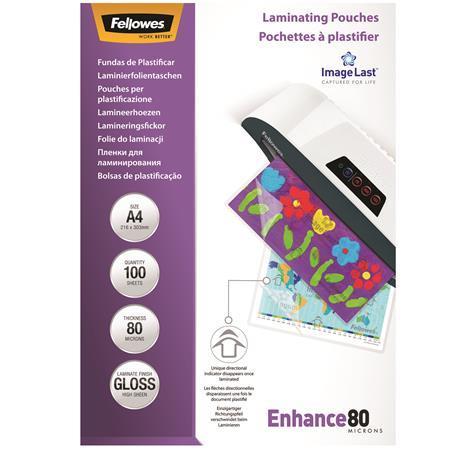 FELLOWES A4 fényes lamináló fólia, 80 mikron, 100 db