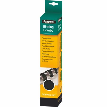 Fellowes 10 mm műanyag spirál | 41-55 lap | fekete | 25 db
