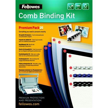 Fellowes prémium kezdőcsomag műanyag spirálozáshoz | 20 dokumentum bekötéséhez