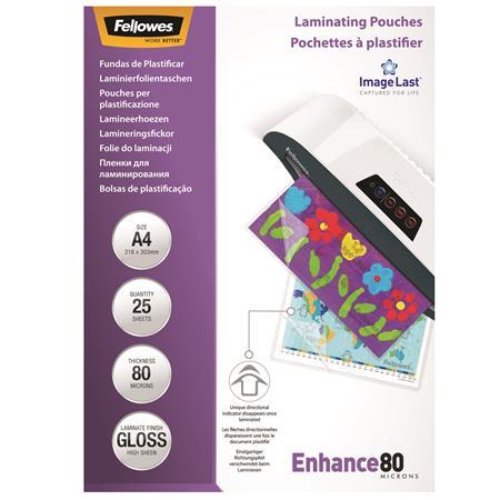 Fellowes A4 fényes meleglamináló fólia   80 mikron   25 db