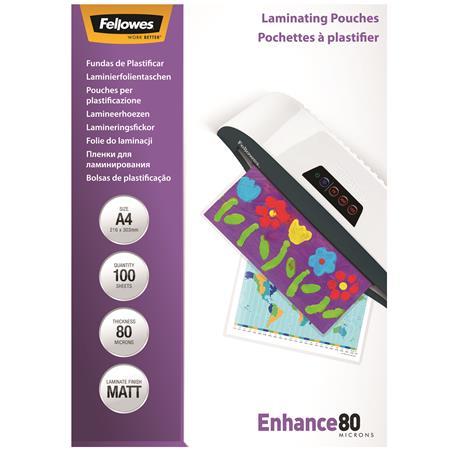 FELLOWES A4 matt lamináló fólia, 80 mikron, 100 db