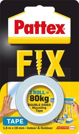 Ragasztószalag, kétoldalas, 19 mm x 1,5 m, HENKEL Pattex Fix 80 kg, kék