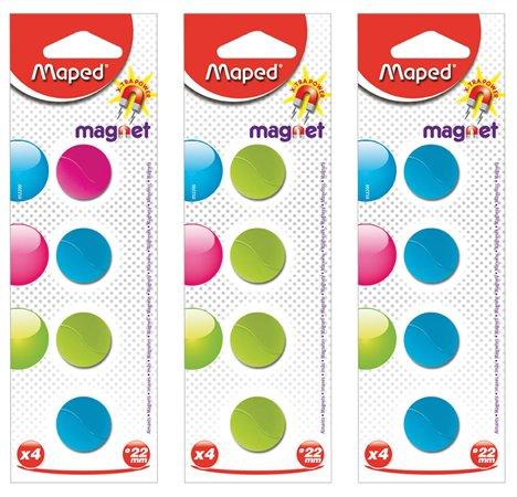 Mágnes, kerek, 22 mm, MAPED, vegyes színek
