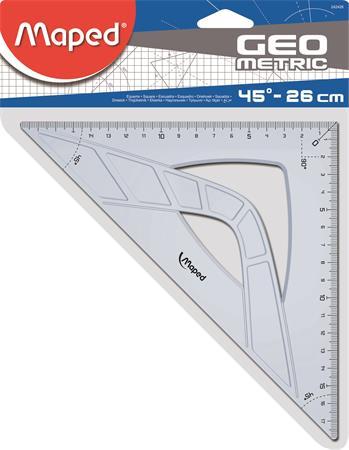 Háromszög vonalzó, műanyag, 45°, 26 cm, MAPED Geometric