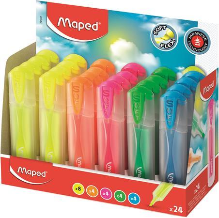 Szövegkiemelő display, 1-5 mm, átlátszó ház, MAPED Fluo Peps Ultra Soft, vegyes színek