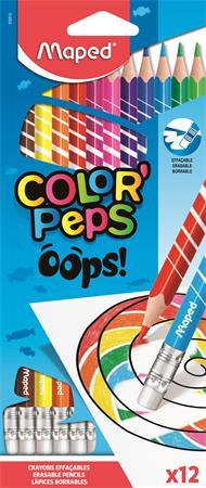 Színes ceruza készlet, háromszögletű, radírozható, MAPED Color`Peps Oops, 12 különböző szín