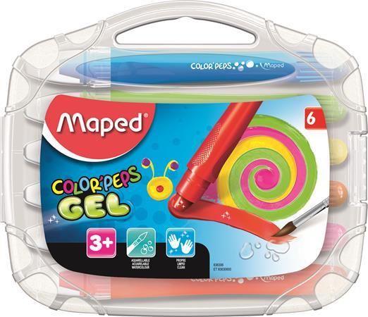 Zsírkréta, kitekerhető, MAPED Color`Peps GEL, 6 különböző szín
