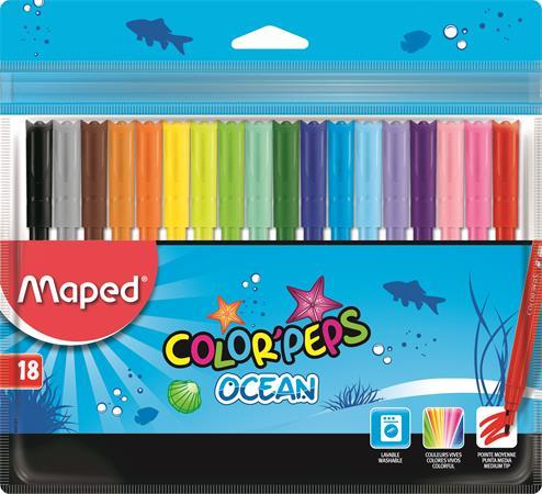 Filctoll készlet, 2 mm, kimosható, MAPED Color`Peps Ocean, 18 különböző szín