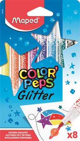 Filctoll készlet, 2,8 mm, csillámos, MAPED Color`Peps Glitter, 8 különböző szín
