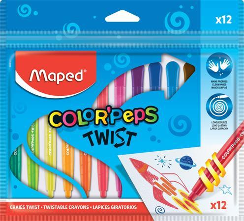 Zsírkréta, kitekerhető, MAPED Color`Peps, 12 különböző szín