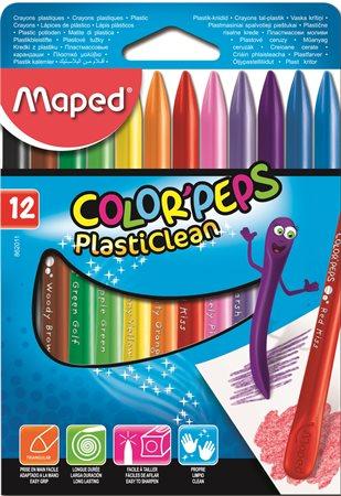 Zsírkréta, MAPED Color`Peps PlastiClean, 12 különböző szín
