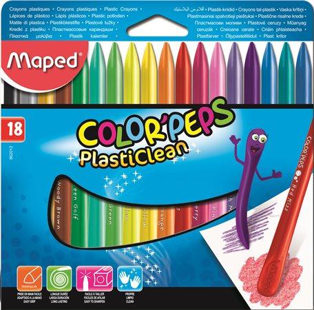 Zsírkréta, MAPED Color`Peps PlastiClean, 18 különböző szín