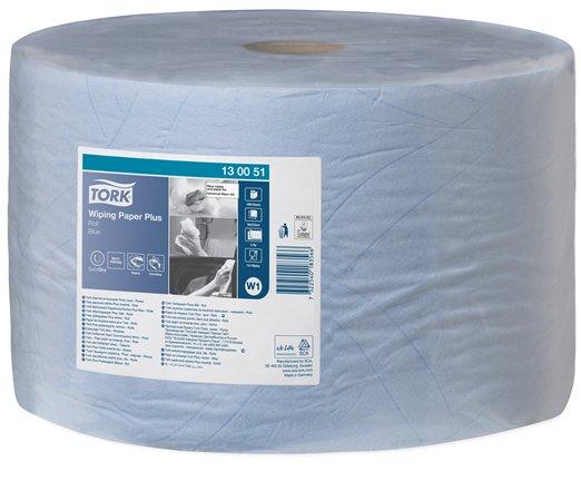 Törlőpapír, tekercses, 39 cm átmérő, W1 rendszer, TORK Plusz, kék