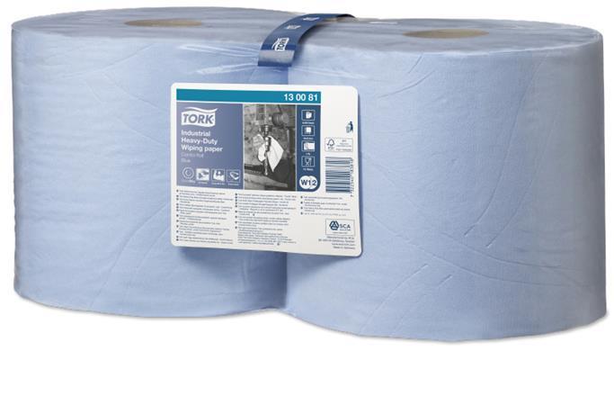 Törlőpapír, tekercses, 26,2 cm átmérő, W2 rendszer, TORK Ipari nagy teljesítményű, kék