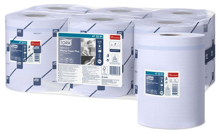 Törlőpapír, tekercses, 18,5 cm átmérő, M4 rendszer, Advanced, TORK Reflex™ plusz, kék