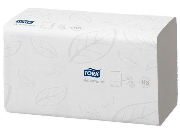 Kéztörlő, Z hajtás, toalettbe dobható, 2 rétegű, H3 rendszer, Advanced, TORK Singlefold, fehér