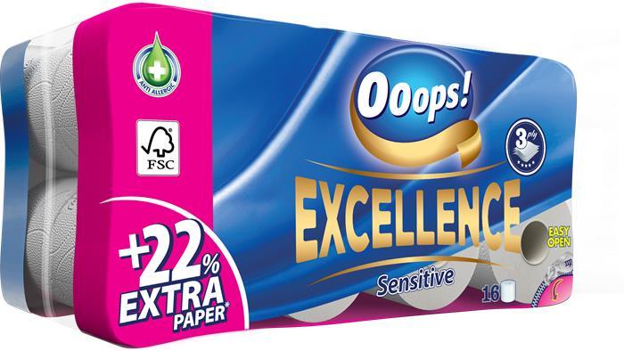 Toalettpapír, 3 rétegű, 16 tekercses, Ooops! Excellence