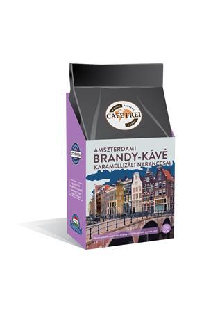 Kávé, pörkölt, szemes, 125 g, CAFE FREI Amszterdami brandy karamellizált naranccsal