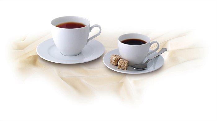 Kávéscsésze+alj,ROTBERG, fehér, 22cl, 6db-os szett, Basic