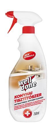 Konyhai fertőtlenítő hatású tisztítószer, szórófejes, 750 ml, WELL DONE