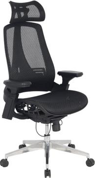 Lexington főnöki forgószék | hálós háttámla és ülőlap | állítható karfa | fejtámla | alumínium lábkereszt | világosszürke-fekete