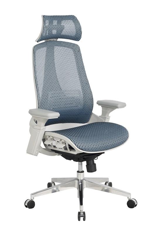 Lexington főnöki forgószék | hálós háttámla és ülőlap | állítható karfa | fejtámla | alumínium lábkereszt | világosszürke kék